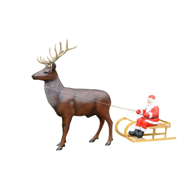 St Claus with sleigh and deer