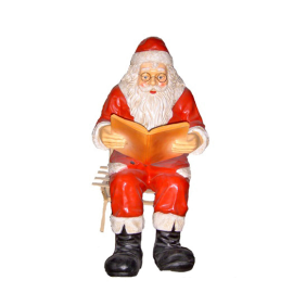 St Claus with the book on a bench