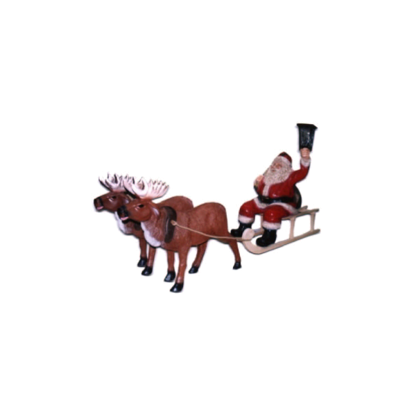 St Claus with sleigh and reindeers