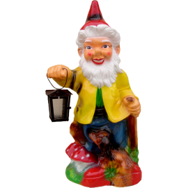 Gnome with an electric lamp